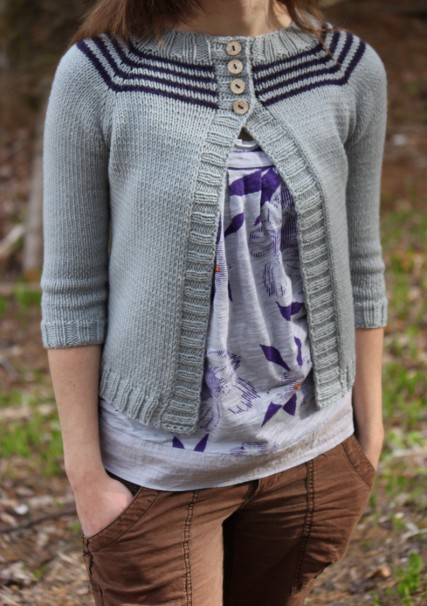 Crocus cardi from the brown stitch